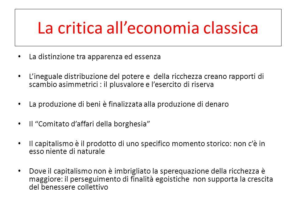 La critica all'economia classica La distinzione tra apparenza ed essenza L'ineguale distribuzione del potere e della ricchezza creano rapporti di scam