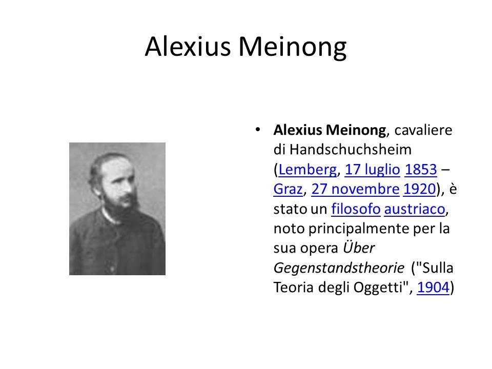 Alexius Meinong Alexius Meinong, cavaliere di Handschuchsheim (Lemberg, 17 luglio 1853 – Graz, 27 novembre 1920), è stato un filosofo austriaco, noto principalmente per la sua opera Über Gegenstandstheorie ( Sulla Teoria degli Oggetti , 1904)Lemberg17 luglio1853 Graz27 novembre1920filosofoaustriaco1904