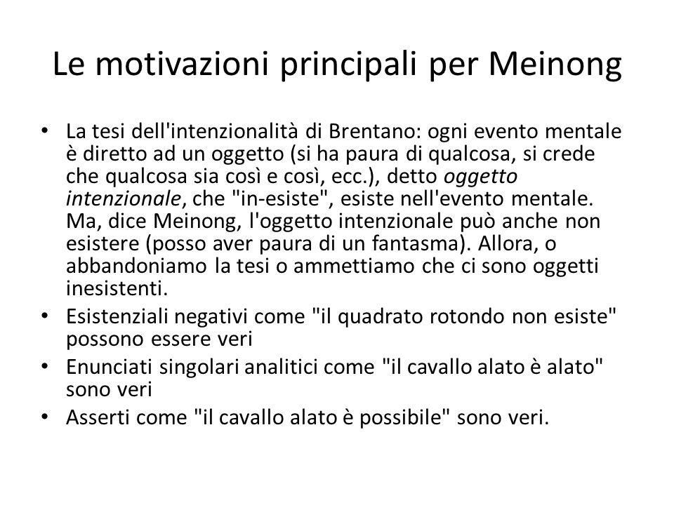 Le motivazioni principali per Meinong La tesi dell intenzionalità di Brentano: ogni evento mentale è diretto ad un oggetto (si ha paura di qualcosa, si crede che qualcosa sia così e così, ecc.), detto oggetto intenzionale, che in-esiste , esiste nell evento mentale.