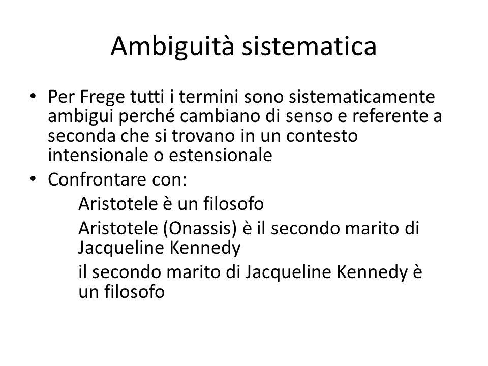 Ambiguità sistematica Per Frege tutti i termini sono sistematicamente ambigui perché cambiano di senso e referente a seconda che si trovano in un contesto intensionale o estensionale Confrontare con: Aristotele è un filosofo Aristotele (Onassis) è il secondo marito di Jacqueline Kennedy il secondo marito di Jacqueline Kennedy è un filosofo