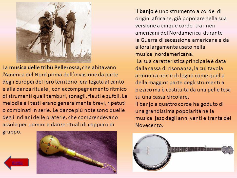 Il banjo è uno strumento a corde di origini africane, già popolare nella sua versione a cinque corde tra i neri americani del Nordamerica durante la G