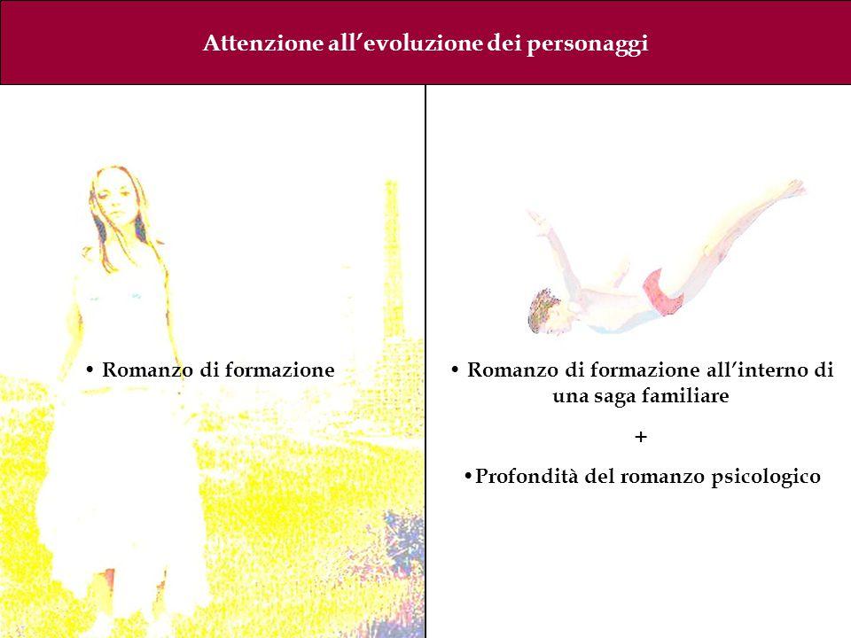 Attenzione all'evoluzione dei personaggi Romanzo di formazione Romanzo di formazione all'interno di una saga familiare + Profondità del romanzo psicologico