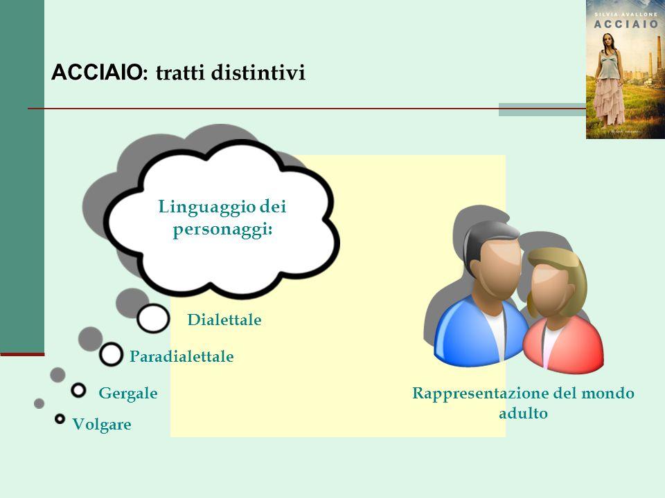 ACCIAIO ACCIAIO : tratti distintivi Linguaggio dei personaggi: Dialettale Paradialettale Volgare GergaleRappresentazione del mondo adulto