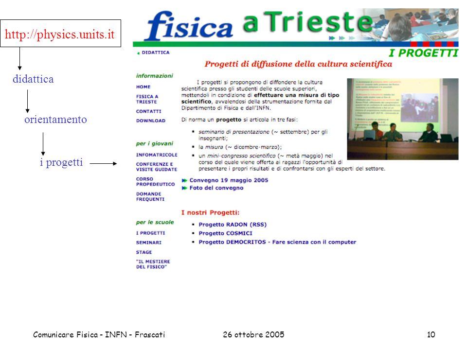 26 ottobre 2005Comunicare Fisica - INFN - Frascati10 didattica orientamento i progetti http://physics.units.it