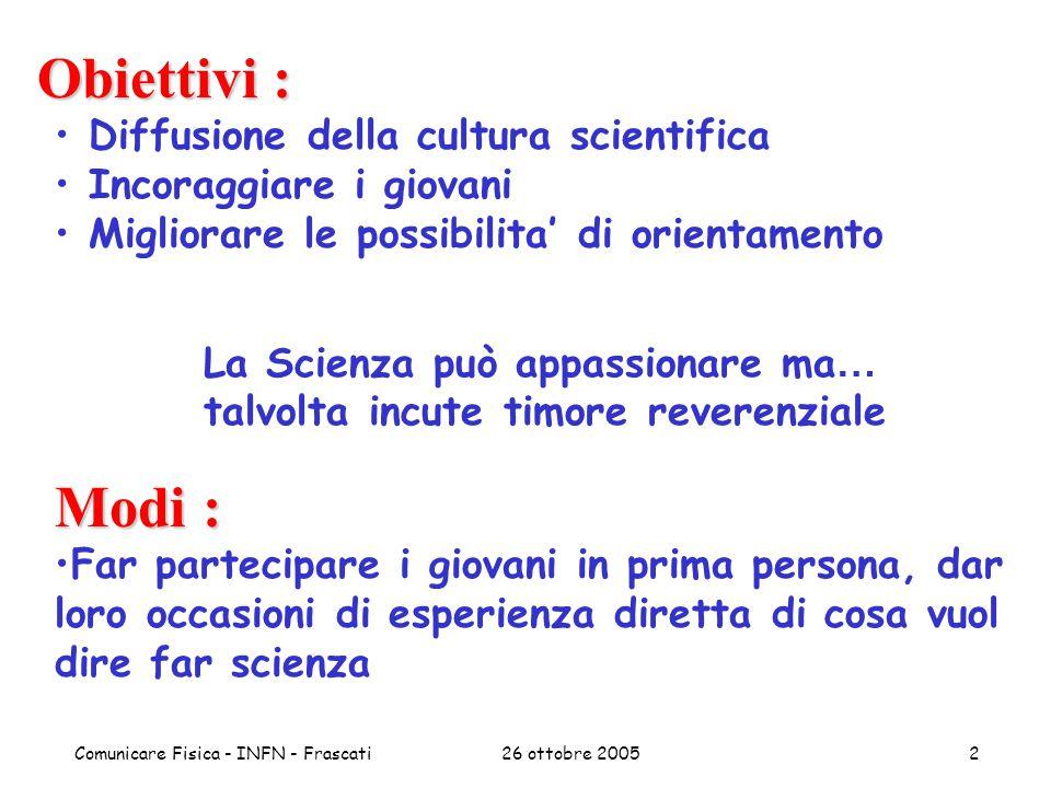 26 ottobre 2005Comunicare Fisica - INFN - Frascati3 Metodi Partecipazione in I persona –No teoria, dunque...