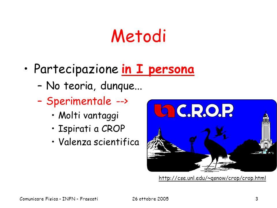 26 ottobre 2005Comunicare Fisica - INFN - Frascati3 Metodi Partecipazione in I persona –No teoria, dunque... –Sperimentale --> Molti vantaggi Ispirati