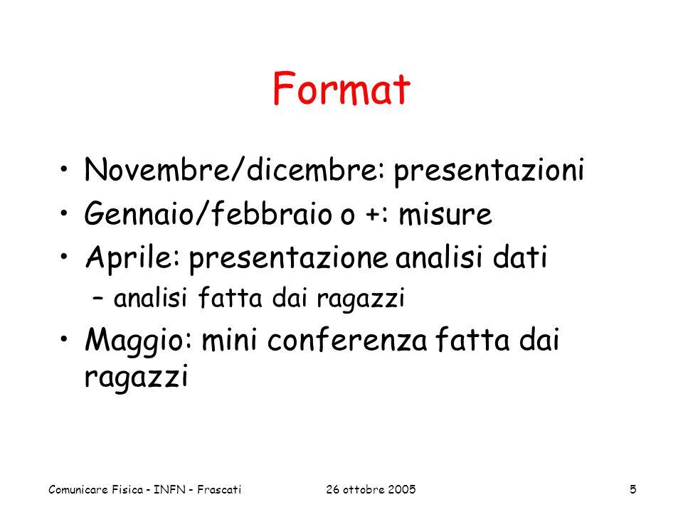 26 ottobre 2005Comunicare Fisica - INFN - Frascati5 Format Novembre/dicembre: presentazioni Gennaio/febbraio o +: misure Aprile: presentazione analisi