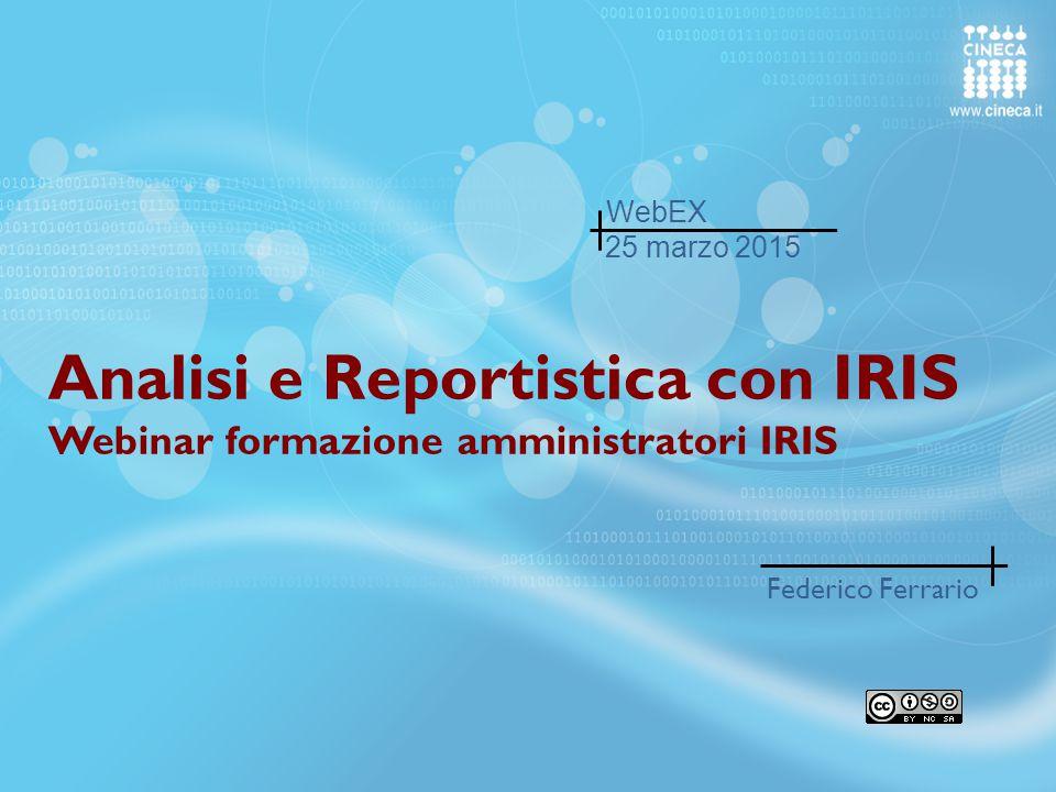 Federico Ferrario- Responsabile Sviluppo prodotto IRIS IRIS - CINECA2 Responsible for software development and architectures since 2012 at CINECA.