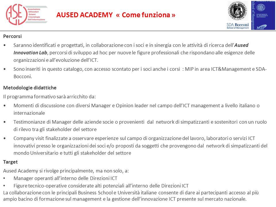 AUSED ACADEMY « Come funziona » Percorsi Saranno identificati e progettati, in collaborazione con i soci e in sinergia con le attività di ricerca dell