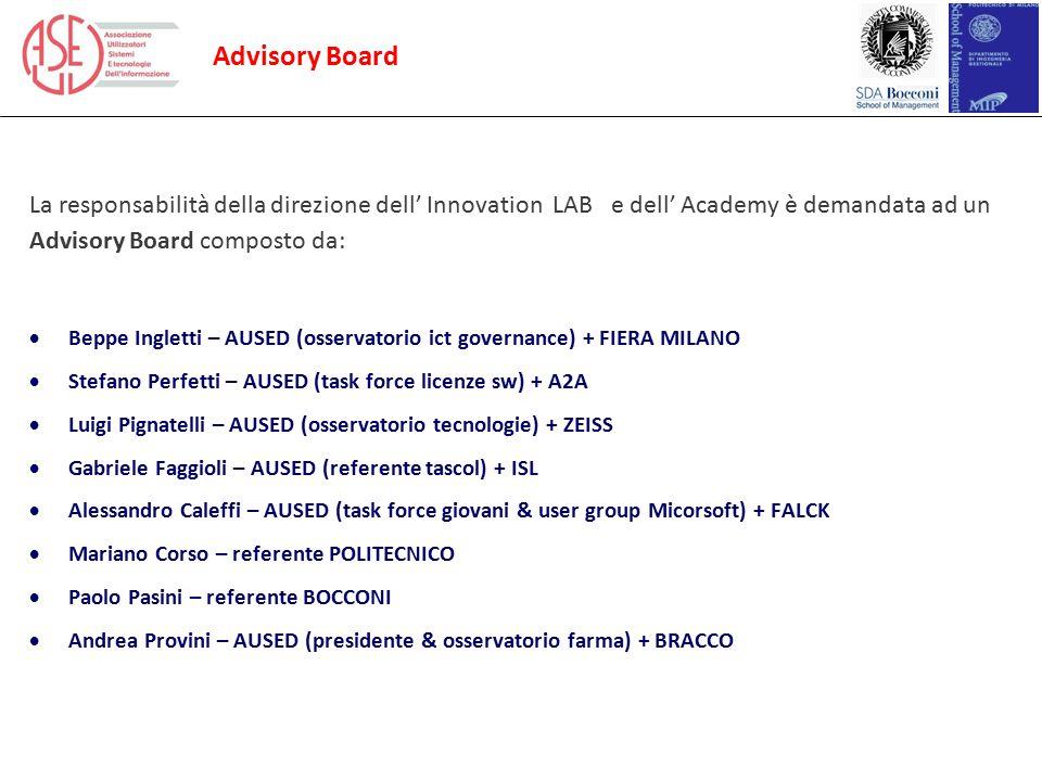 Advisory Board La responsabilità della direzione dell' Innovation LAB e dell' Academy è demandata ad un Advisory Board composto da:  Beppe Ingletti –