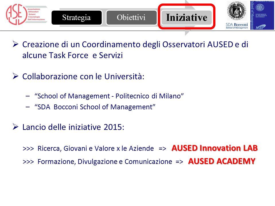 """ Creazione di un Coordinamento degli Osservatori AUSED e di alcune Task Force e Servizi  Collaborazione con le Università: –""""School of Management -"""