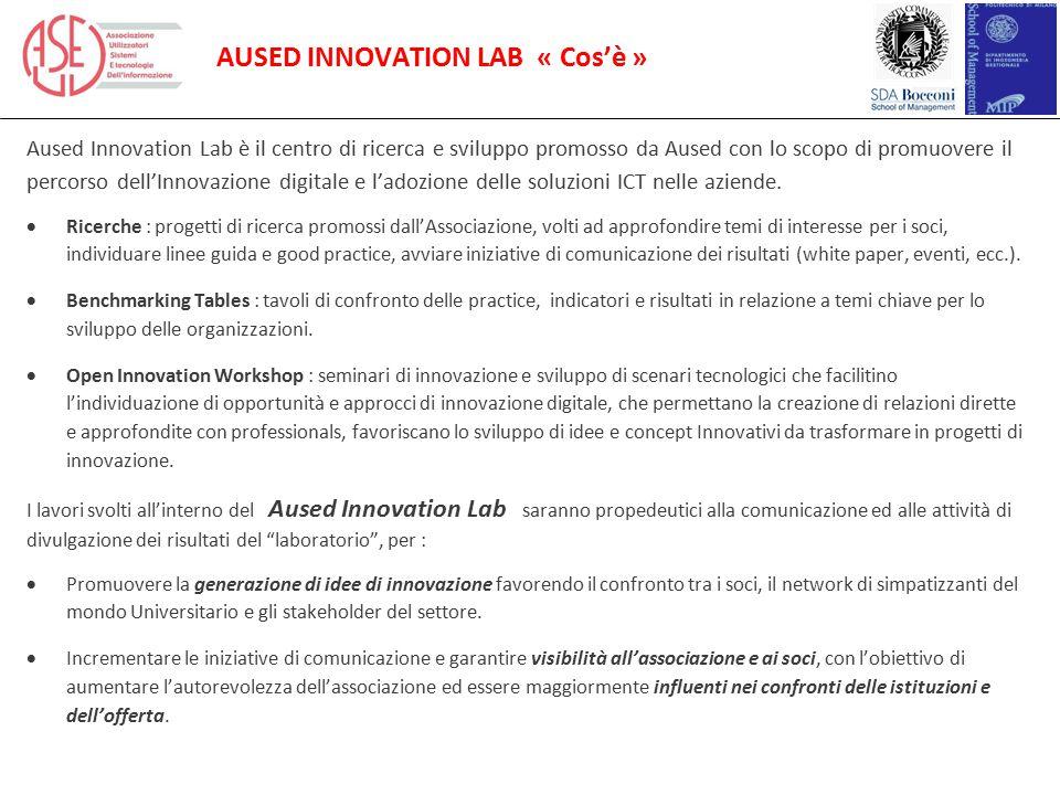 AUSED INNOVATION LAB « Cos'è » Aused Innovation Lab è il centro di ricerca e sviluppo promosso da Aused con lo scopo di promuovere il percorso dell'In