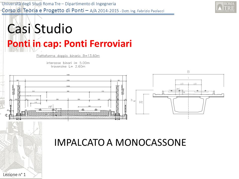Università degli Studi Roma Tre – Dipartimento di Ingegneria Corso di Teoria e Progetto di Ponti – A/A 2014-2015 - Dott. Ing. Fabrizio Paolacci Lezion