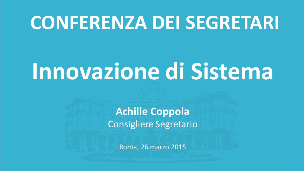 Innovazione di Sistema Achille Coppola Consigliere Segretario Roma, 26 marzo 2015 CONFERENZA DEI SEGRETARI