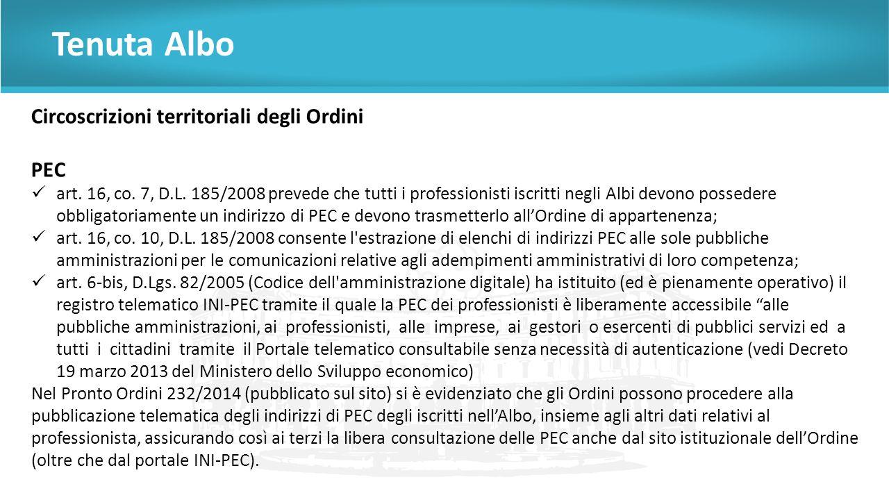 Tenuta Albo Circoscrizioni territoriali degli Ordini PEC art.