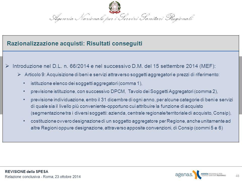 REVISIONE della SPESA Relazione conclusiva - Roma, 23 ottobre 2014 Razionalizzazione acquisti: Risultati conseguiti  Introduzione nel D.L.