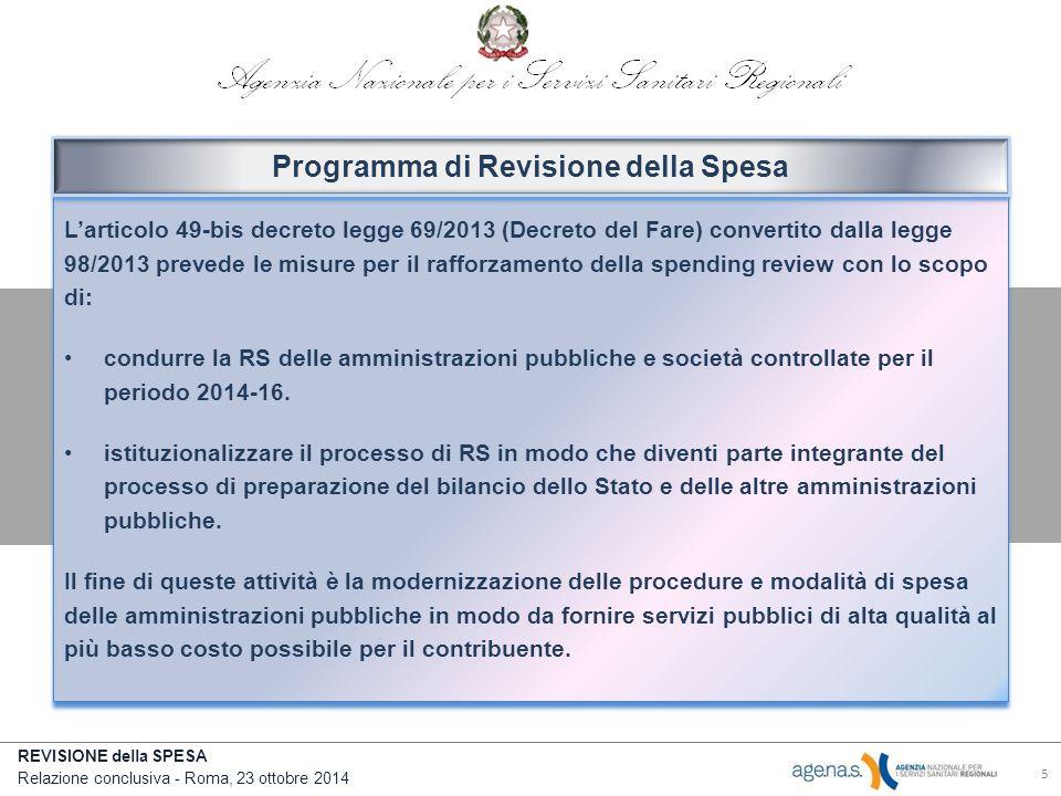 REVISIONE della SPESA Relazione conclusiva - Roma, 23 ottobre 2014 L'articolo 49-bis decreto legge 69/2013 (Decreto del Fare) convertito dalla legge 98/2013 prevede le misure per il rafforzamento della spending review con lo scopo di: condurre la RS delle amministrazioni pubbliche e società controllate per il periodo 2014-16.