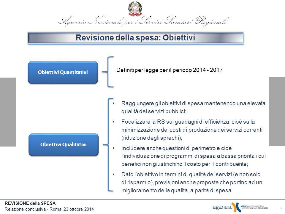 REVISIONE della SPESA Relazione conclusiva - Roma, 23 ottobre 2014 6 Obiettivi Quantitativi Revisione della spesa: Obiettivi Obiettivi Qualitativi Definiti per legge per il periodo 2014 - 2017 Raggiungere gli obiettivi di spesa mantenendo una elevata qualità dei servizi pubblici; Focalizzare la RS sui guadagni di efficienza, cioè sulla minimizzazione dei costi di produzione dei servizi correnti (riduzione degli sprechi); Includere anche questioni di perimetro e cioè l'individuazione di programmi di spesa a bassa priorità i cui benefici non giustifichino il costo per il contribuente; Dato l'obiettivo in termini di qualità dei servizi (e non solo di risparmio), previsioni anche proposte che portino ad un miglioramento della qualità, a parità di spesa.