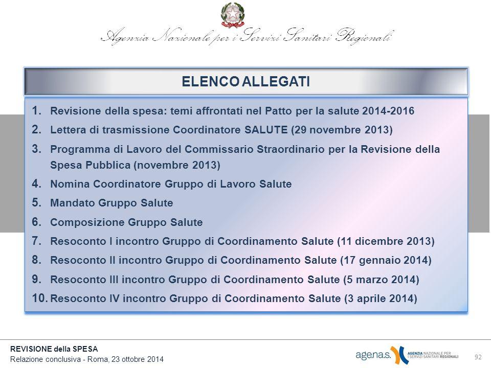 REVISIONE della SPESA Relazione conclusiva - Roma, 23 ottobre 2014 92 1.