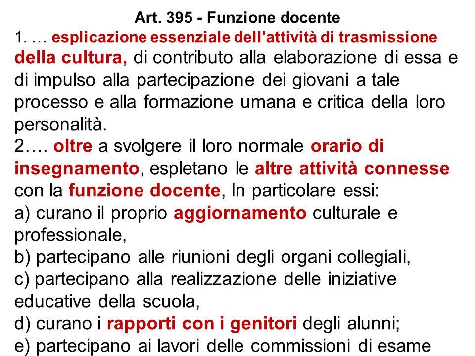 Art. 395 - Funzione docente 1. … esplicazione essenziale dell'attività di trasmissione della cultura, di contributo alla elaborazione di essa e di imp