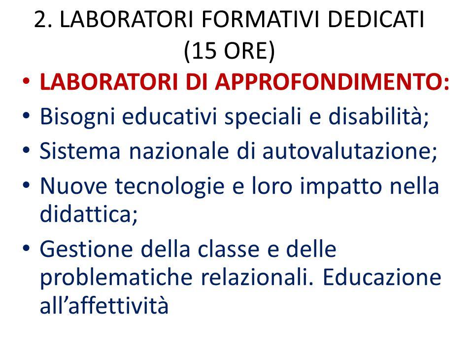 2. LABORATORI FORMATIVI DEDICATI (15 ORE) LABORATORI DI APPROFONDIMENTO: Bisogni educativi speciali e disabilità; Sistema nazionale di autovalutazione