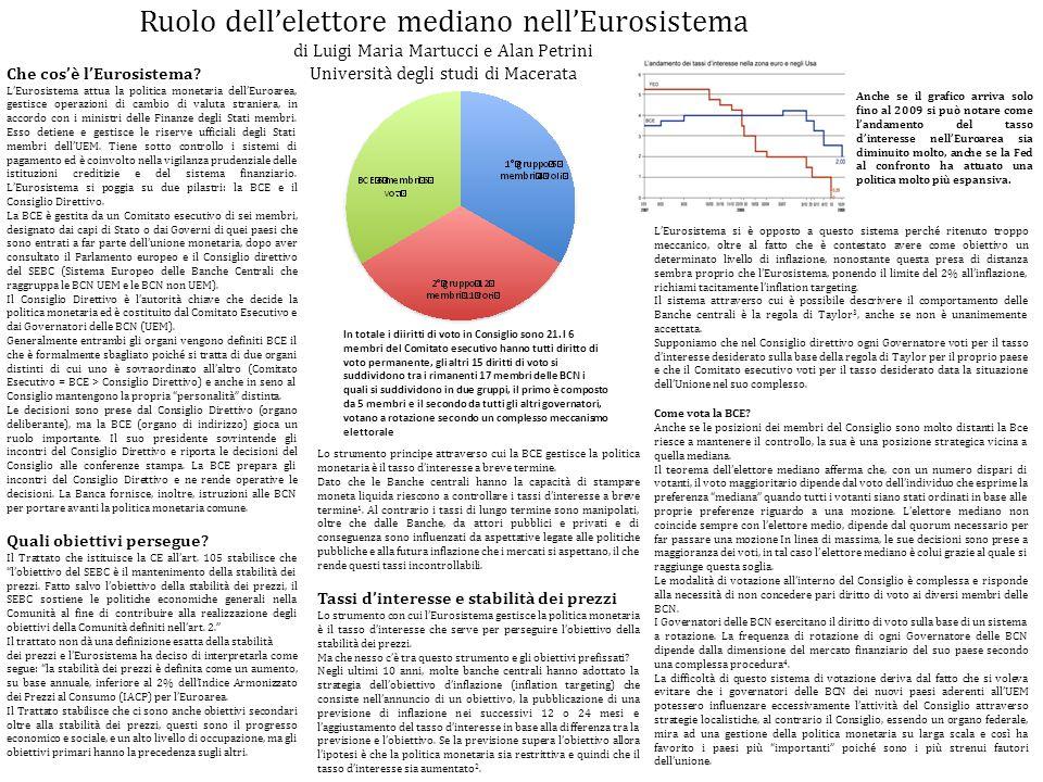 Ruolo dell'elettore mediano nell'Eurosistema di Luigi Maria Martucci e Alan Petrini Università degli studi di Macerata Che cos'è l'Eurosistema.