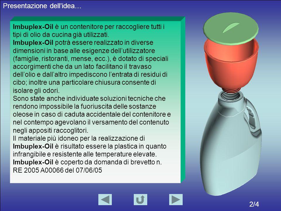 2/4 Presentazione dell'idea… Imbuplex-Oil è un contenitore per raccogliere tutti i tipi di olio da cucina già utilizzati.