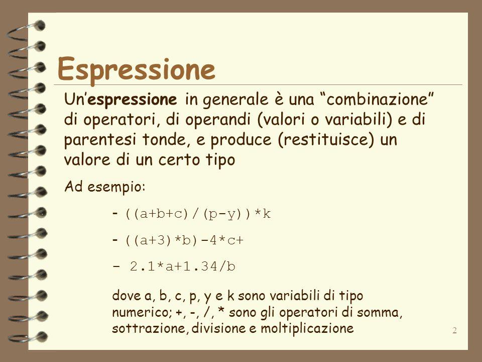 2 Espressione Un'espressione in generale è una combinazione di operatori, di operandi (valori o variabili) e di parentesi tonde, e produce (restituisce) un valore di un certo tipo Ad esempio: - ((a+b+c)/(p-y))*k - ((a+3)*b)-4*c+ - 2.1*a+1.34/b dove a, b, c, p, y e k sono variabili di tipo numerico; +, -, /, * sono gli operatori di somma, sottrazione, divisione e moltiplicazione