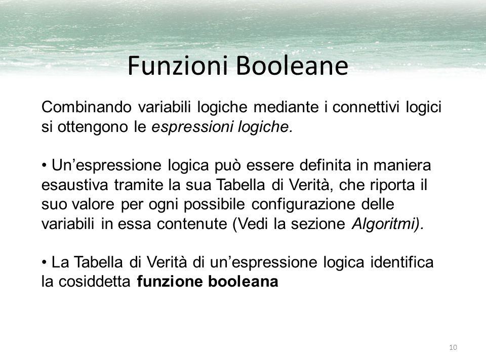 10 Funzioni Booleane Combinando variabili logiche mediante i connettivi logici si ottengono le espressioni logiche. Un'espressione logica può essere d
