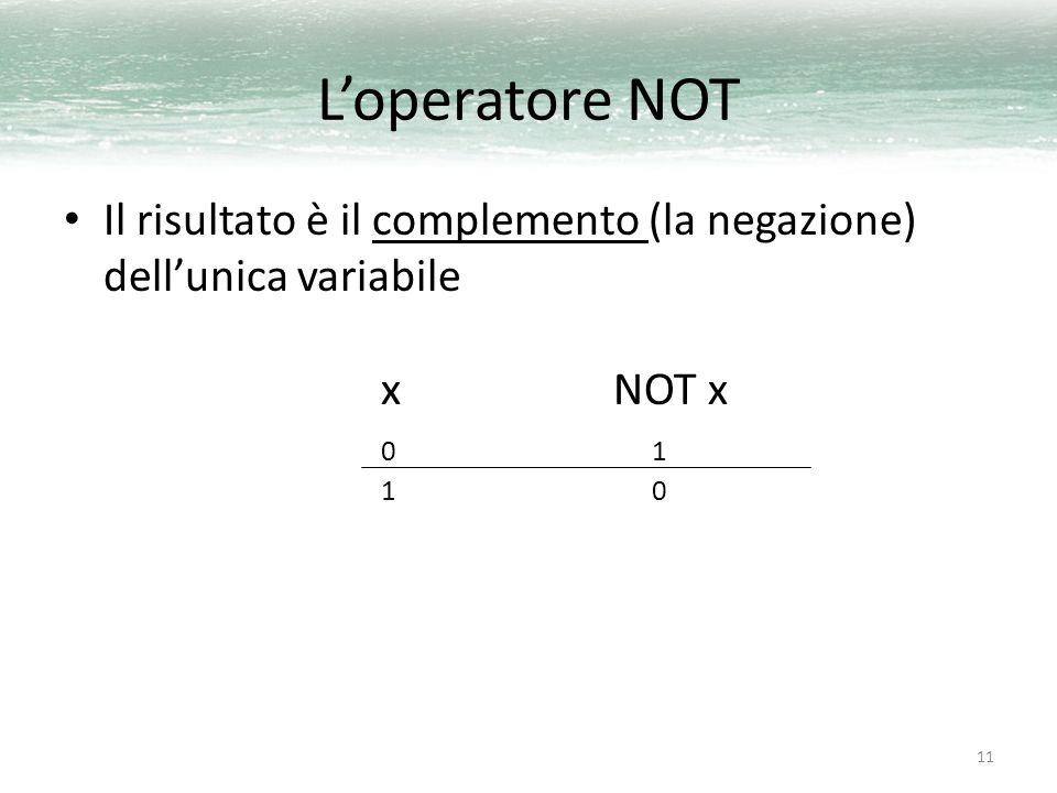 11 L'operatore NOT Il risultato è il complemento (la negazione) dell'unica variabile x NOT x 0 1 1 0