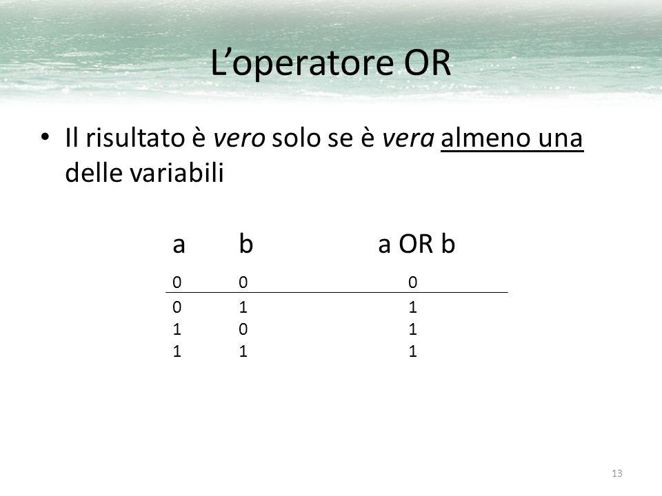 13 L'operatore OR Il risultato è vero solo se è vera almeno una delle variabili ab a OR b 00 0 01 1 10 1 11 1
