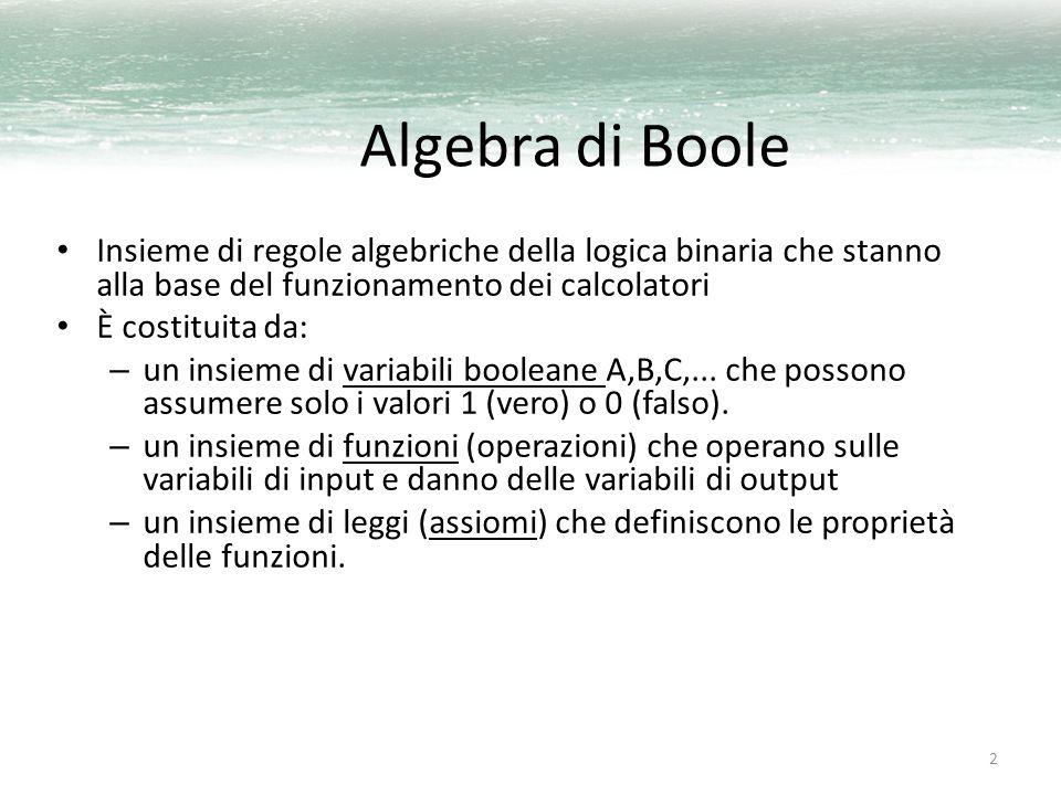 3 Elementi dell'algebra di Boole Gli elementi dell insieme B di un algebra di Boole possono essere astratti o concreti; ad esempio possono essere numeri, proposizioni, insiemi o reti elettriche.