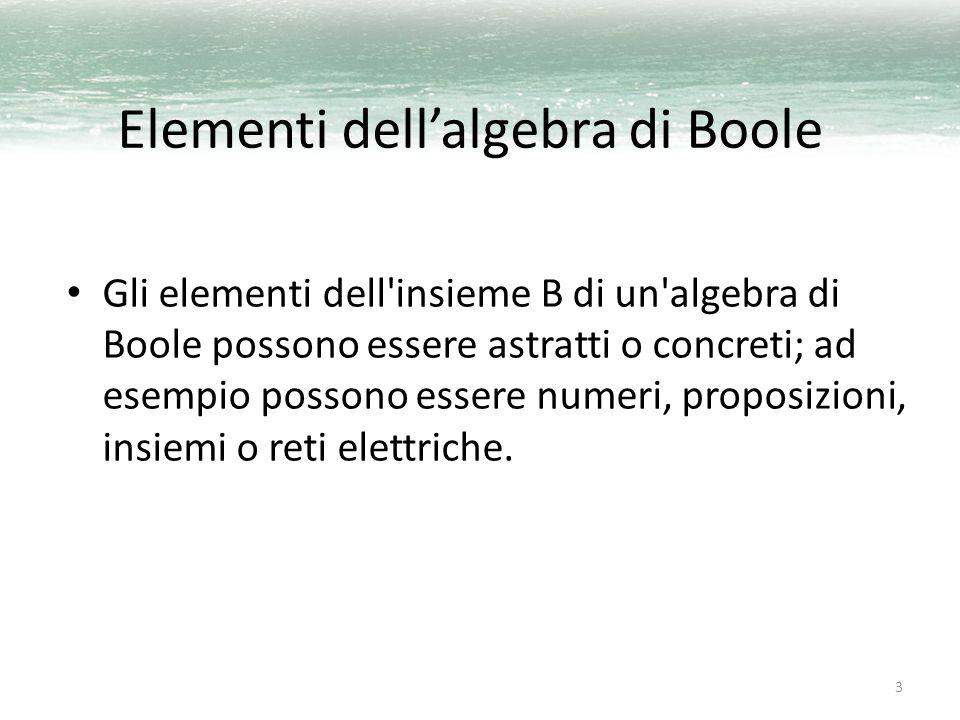 3 Elementi dell'algebra di Boole Gli elementi dell'insieme B di un'algebra di Boole possono essere astratti o concreti; ad esempio possono essere nume