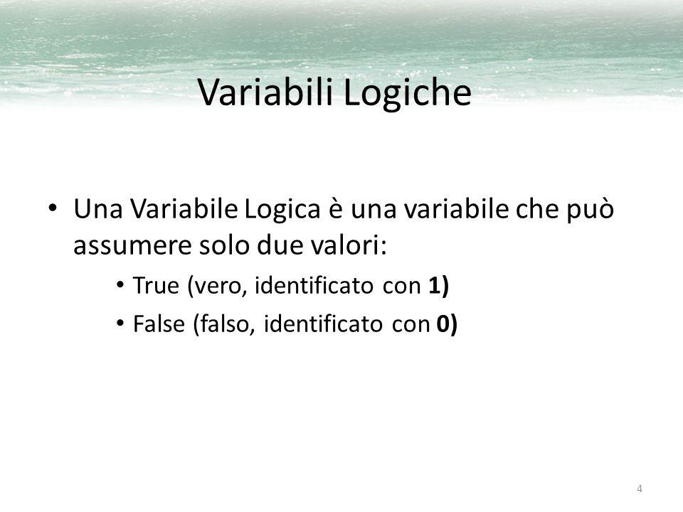 4 Variabili Logiche Una Variabile Logica è una variabile che può assumere solo due valori: True (vero, identificato con 1) False (falso, identificato