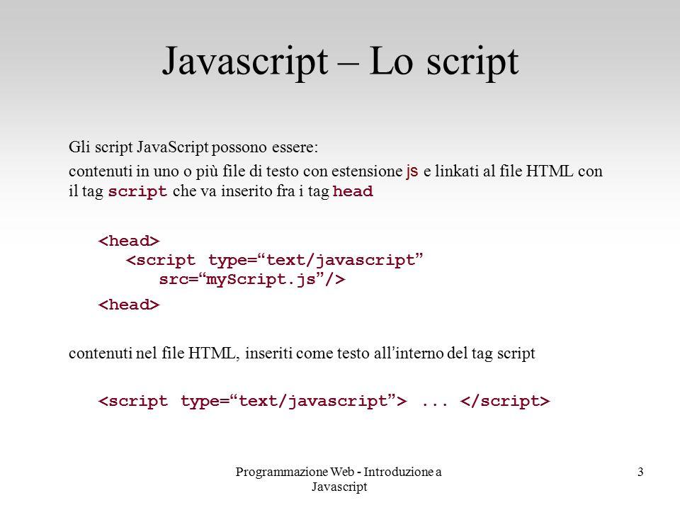 Programmazione Web - Introduzione a Javascript 3 Gli script JavaScript possono essere: contenuti in uno o più file di testo con estensione js e linkat