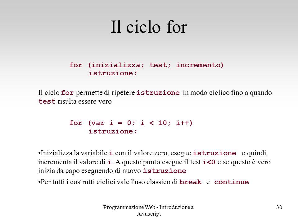 Programmazione Web - Introduzione a Javascript 30 for (inizializza; test; incremento) istruzione; Il ciclo for permette di ripetere istruzione in modo