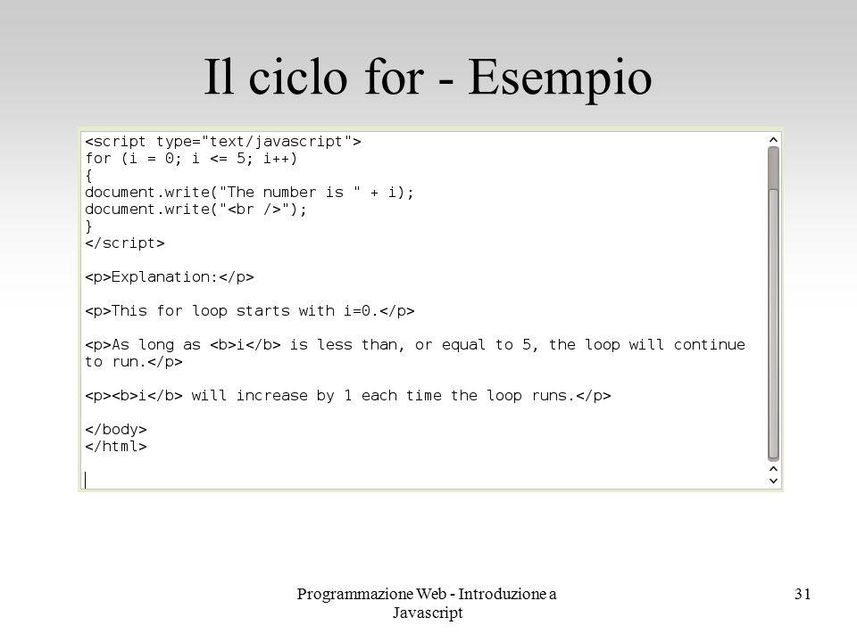 Programmazione Web - Introduzione a Javascript 31 Il ciclo for - Esempio