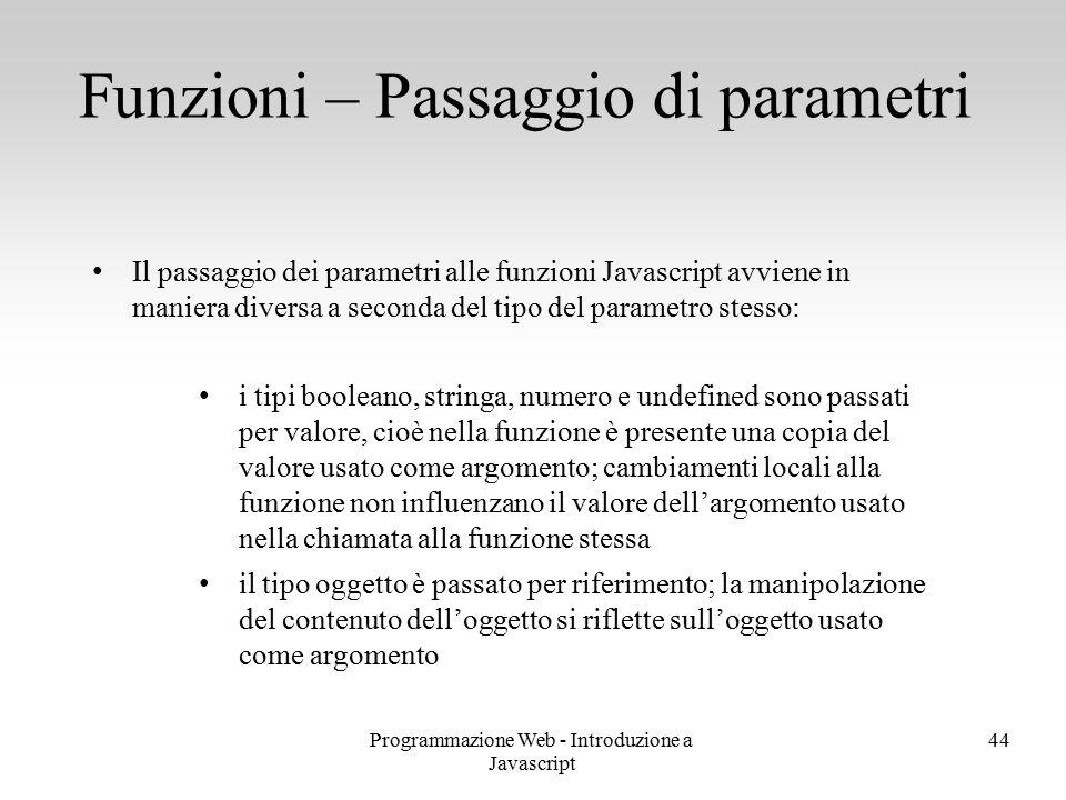Programmazione Web - Introduzione a Javascript 44 Il passaggio dei parametri alle funzioni Javascript avviene in maniera diversa a seconda del tipo de