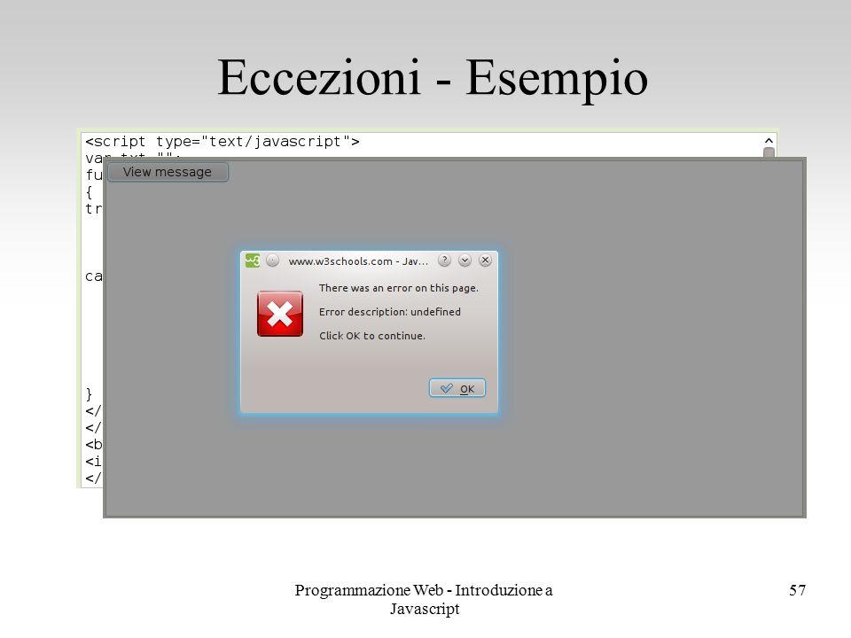 Programmazione Web - Introduzione a Javascript 57 Eccezioni - Esempio