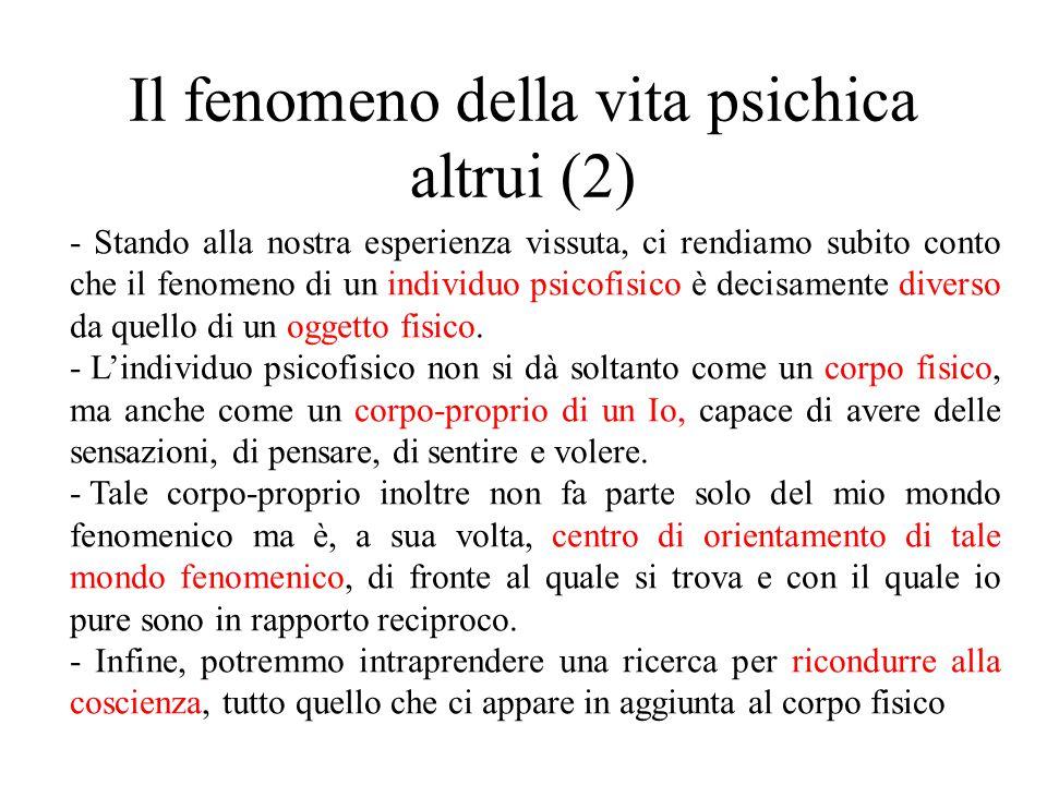 Il fenomeno della vita psichica altrui (2) - Stando alla nostra esperienza vissuta, ci rendiamo subito conto che il fenomeno di un individuo psicofisi