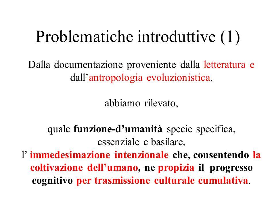 Problematiche introduttive (1) Dalla documentazione proveniente dalla letteratura e dall'antropologia evoluzionistica, abbiamo rilevato, quale funzion