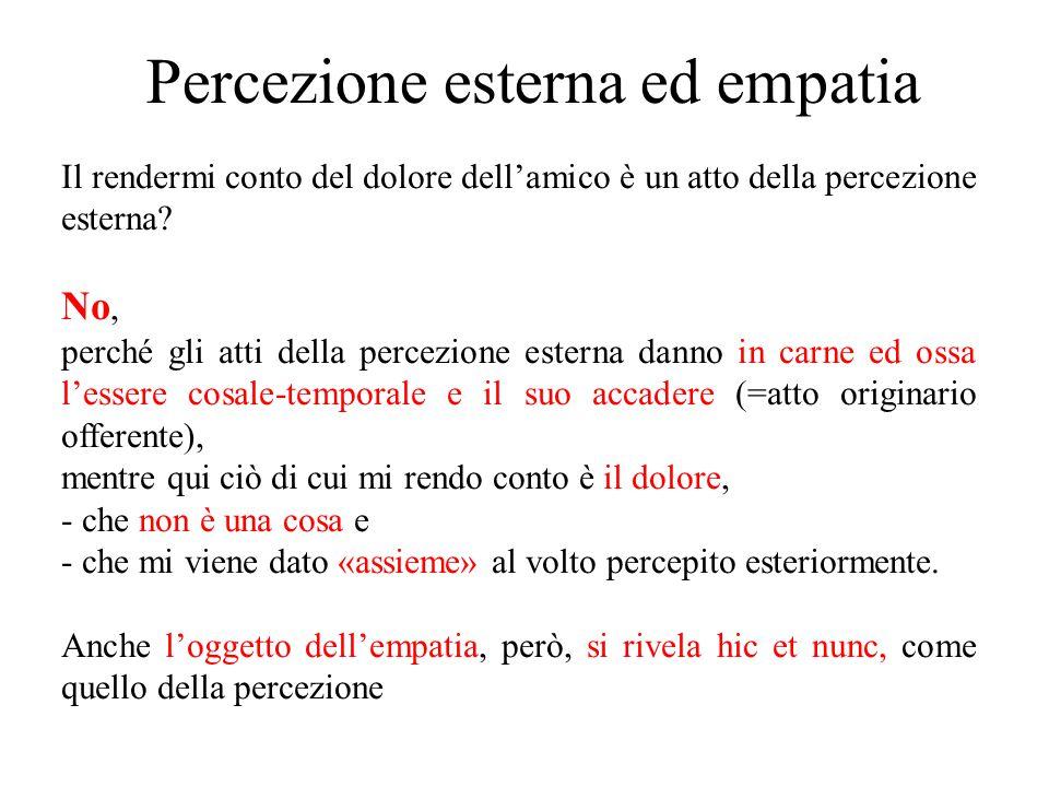 Percezione esterna ed empatia Il rendermi conto del dolore dell'amico è un atto della percezione esterna? No, perché gli atti della percezione esterna