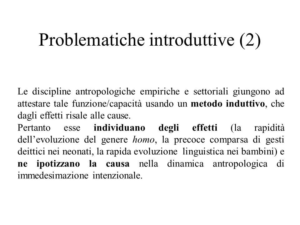 Problematiche introduttive (2) Le discipline antropologiche empiriche e settoriali giungono ad attestare tale funzione/capacità usando un metodo indut