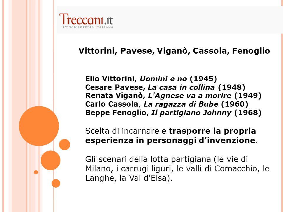 Elio Vittorini, Uomini e no (1945) Cesare Pavese, La casa in collina (1948) Renata Viganò, L'Agnese va a morire (1949) Carlo Cassola, La ragazza di Bu