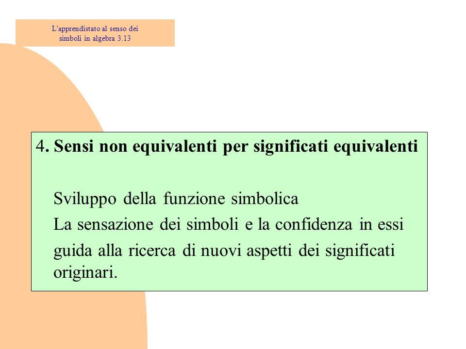 4. Sensi non equivalenti per significati equivalenti Sviluppo della funzione simbolica La sensazione dei simboli e la confidenza in essi guida alla ri