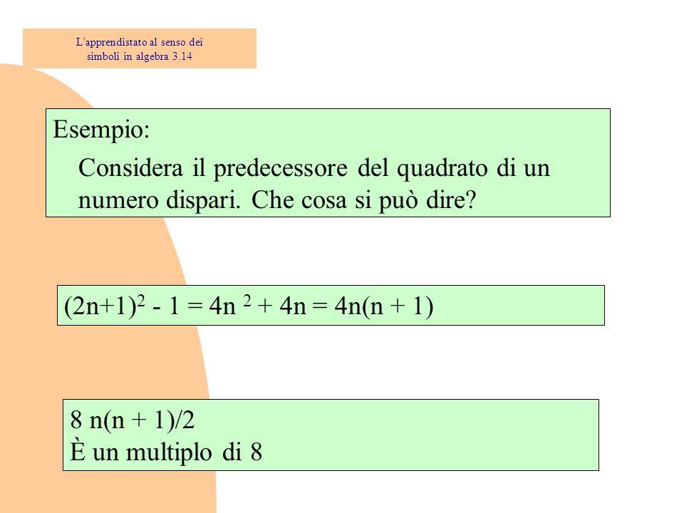 Esempio: Considera il predecessore del quadrato di un numero dispari. Che cosa si può dire? 8 n(n + 1)/2 È un multiplo di 8 (2n+1) 2 - 1 = 4n 2 + 4n =
