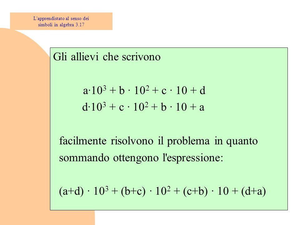 Gli allievi che scrivono a·10 3 + b · 10 2 + c · 10 + d d·10 3 + c · 10 2 + b · 10 + a facilmente risolvono il problema in quanto sommando ottengono l espressione: (a+d) · 10 3 + (b+c) · 10 2 + (c+b) · 10 + (d+a) L apprendistato al senso dei simboli in algebra 3.17