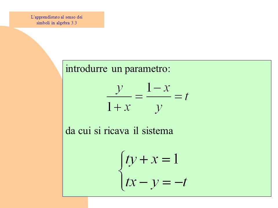 introdurre un parametro: da cui si ricava il sistema L'apprendistato al senso dei simboli in algebra 3.3
