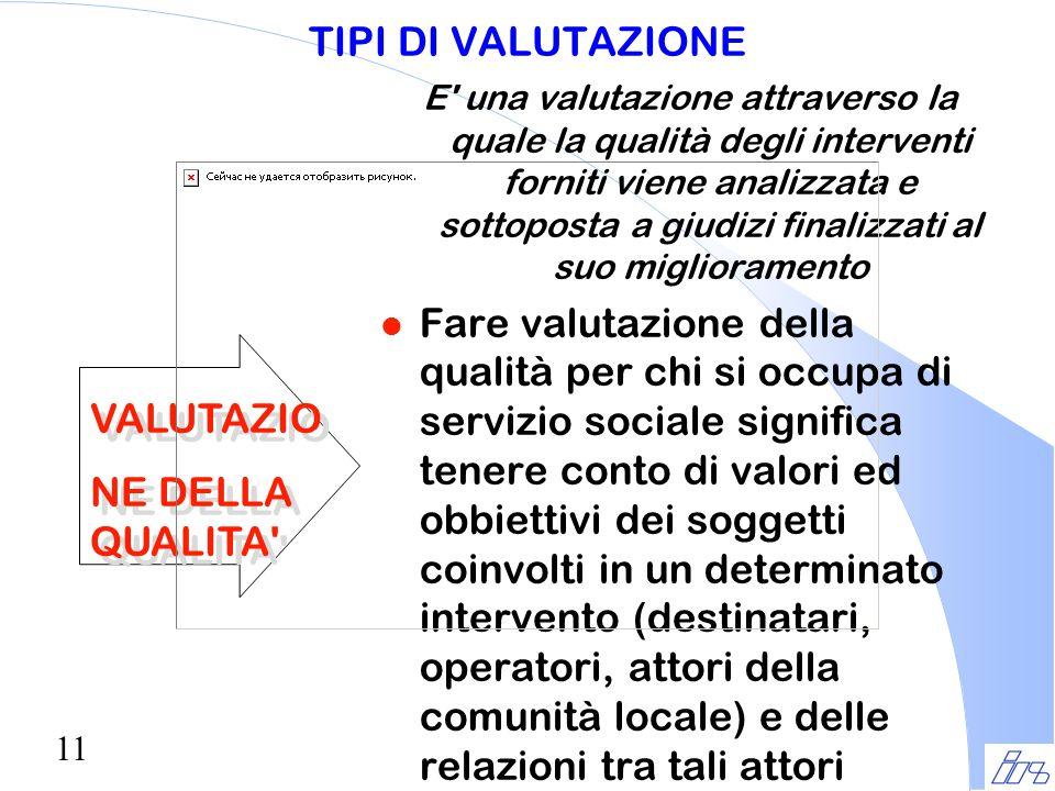 11 TIPI DI VALUTAZIONE E' una valutazione attraverso la quale la qualità degli interventi forniti viene analizzata e sottoposta a giudizi finalizzati