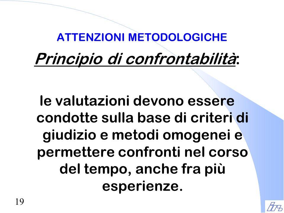 19 ATTENZIONI METODOLOGICHE Principio di confrontabilità: le valutazioni devono essere condotte sulla base di criteri di giudizio e metodi omogenei e